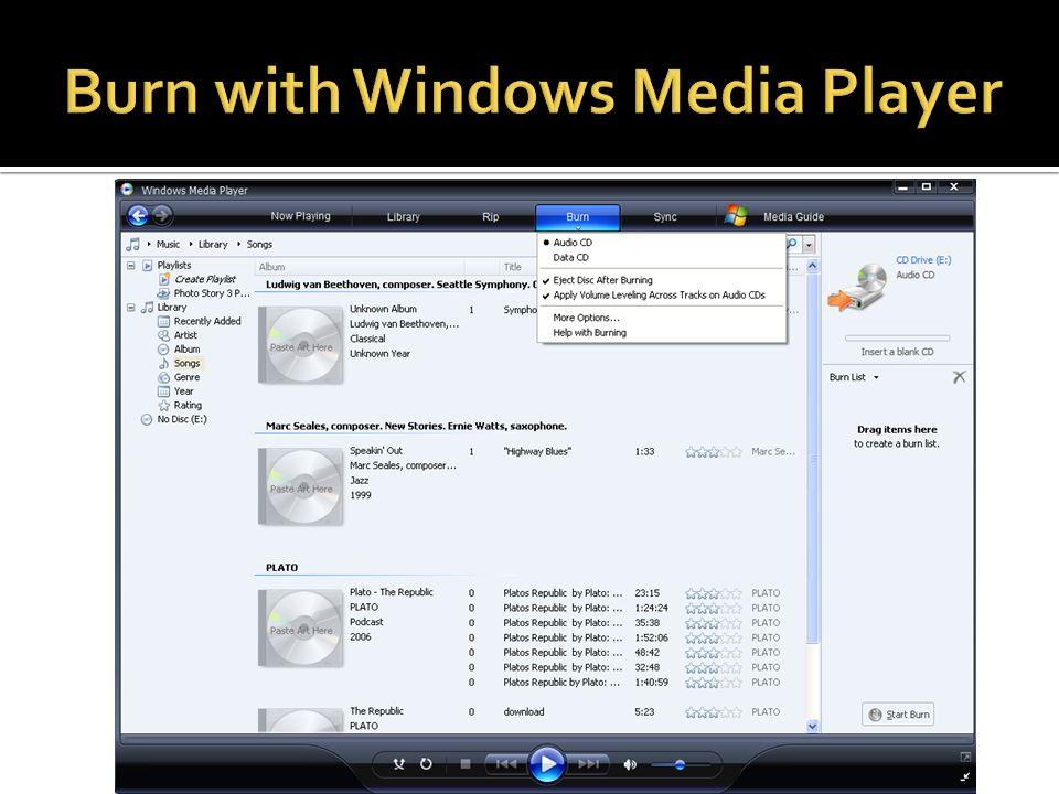Burn with Windows Media Player
