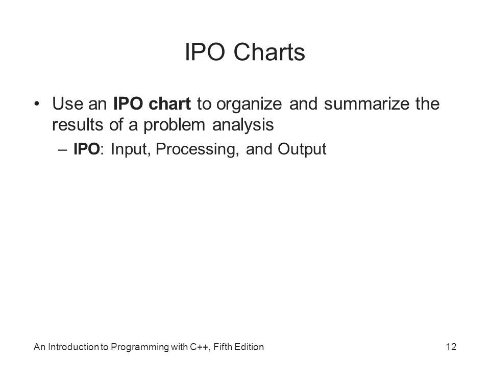 An Introduction to Programming with C++, Fifth Edition12 IPO Charts Use an IPO chart to organize and summarize the results of a problem analysis –IPO: Input, Processing, and Output