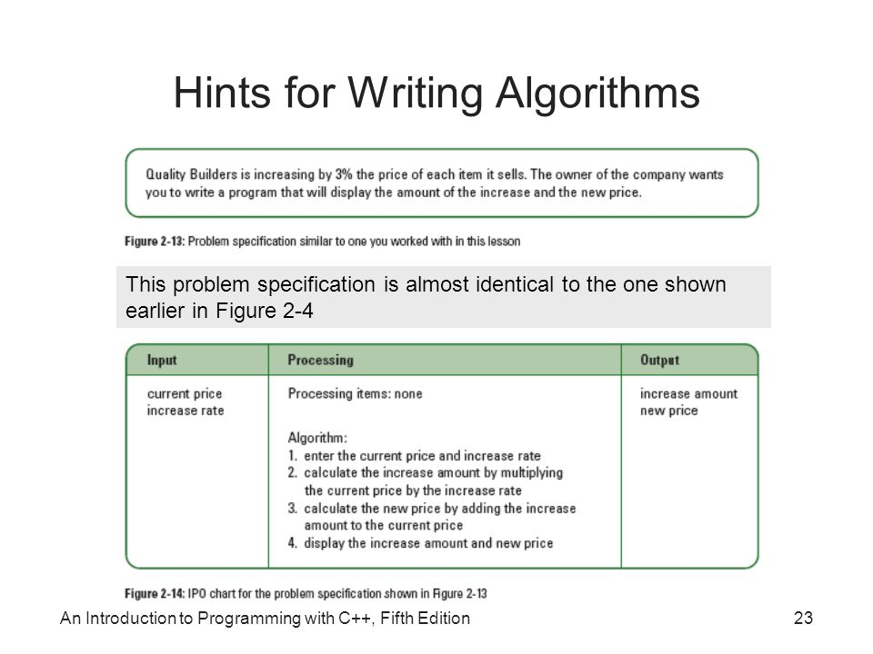 An Introduction to Programming with C++, Fifth Edition23 Hints for Writing Algorithms This problem specification is almost identical to the one shown earlier in Figure 2-4