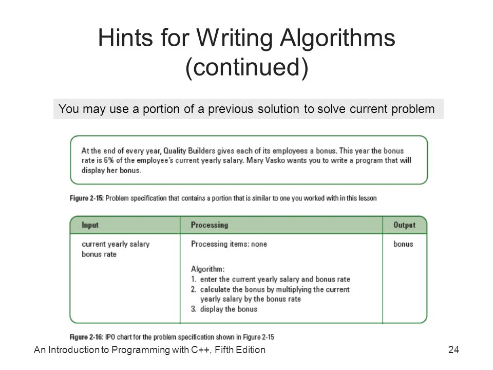 An Introduction to Programming with C++, Fifth Edition24 Hints for Writing Algorithms (continued) You may use a portion of a previous solution to solve current problem