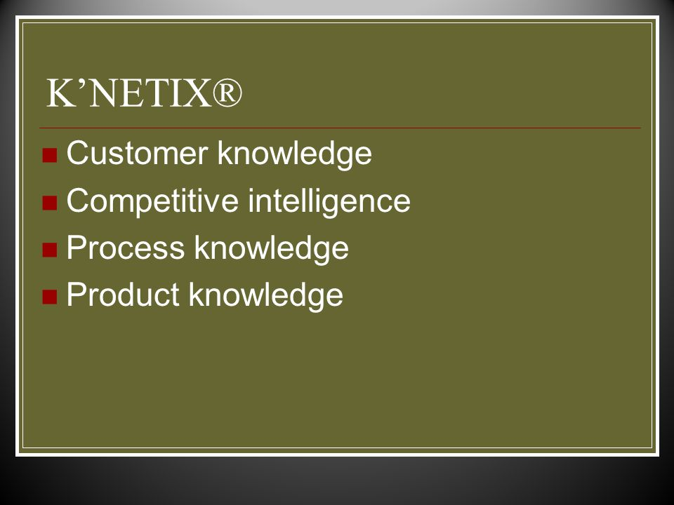 K'NETIX® Customer knowledge Competitive intelligence Process knowledge Product knowledge