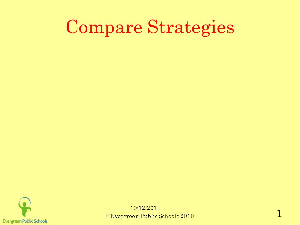 10/12/2014 ©Evergreen Public Schools 2010 1 Compare Strategies