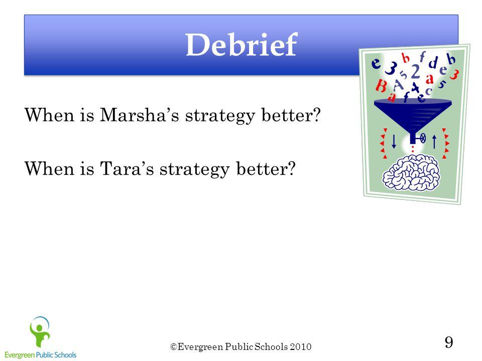 ©Evergreen Public Schools 2010 9 Debrief When is Marsha's strategy better.