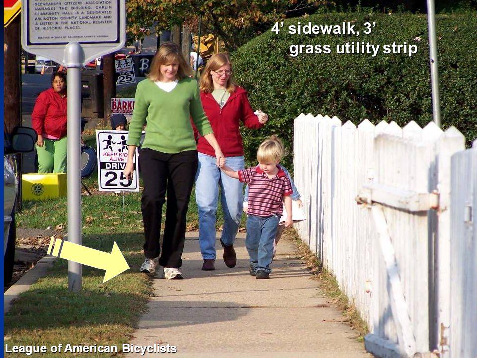Sidewalk Width – 4' 4' sidewalk, 3' grass utility strip League of American Bicyclists