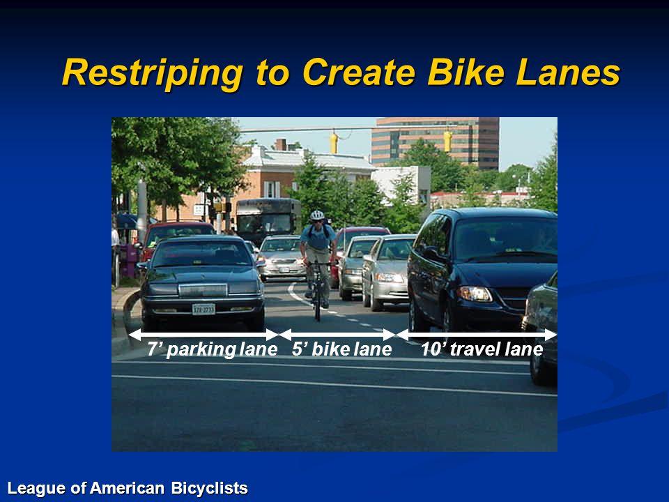 Restriping to Create Bike Lanes 7' parking lane5' bike lane10' travel lane League of American Bicyclists