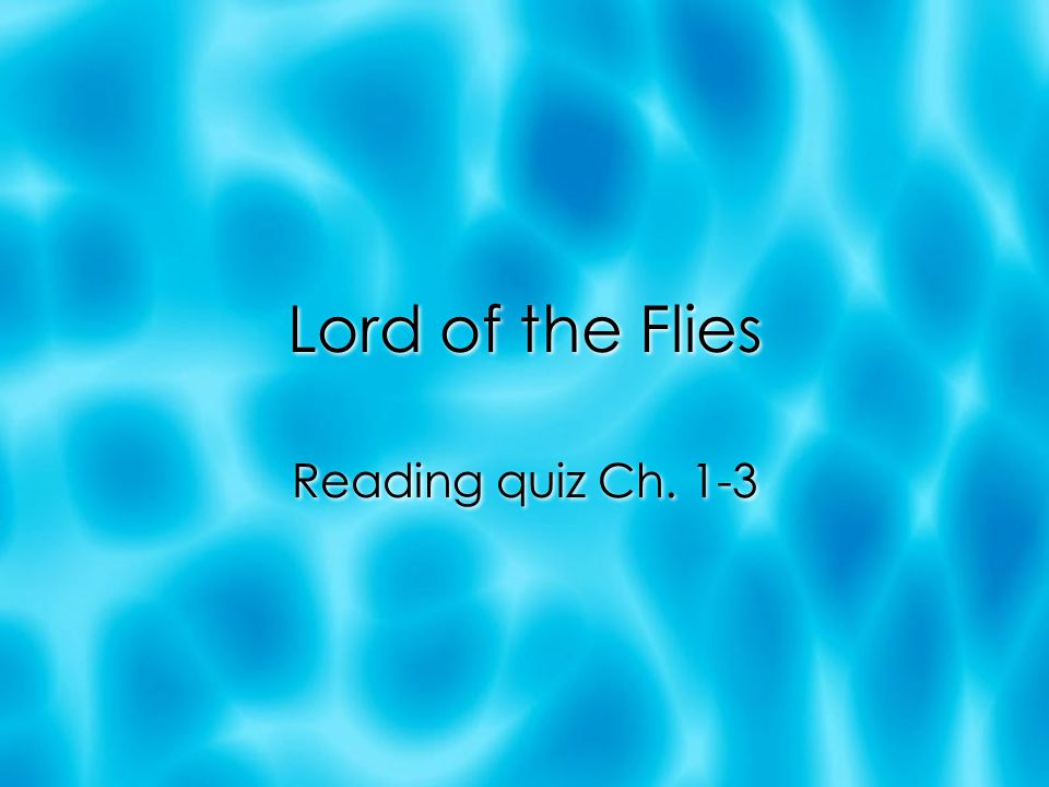 Lord of the Flies Reading quiz Ch. 1-3