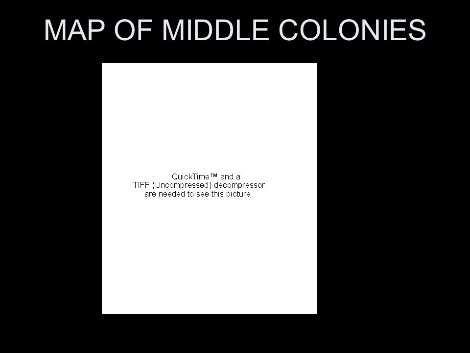 MAP OF MIDDLE COLONIES