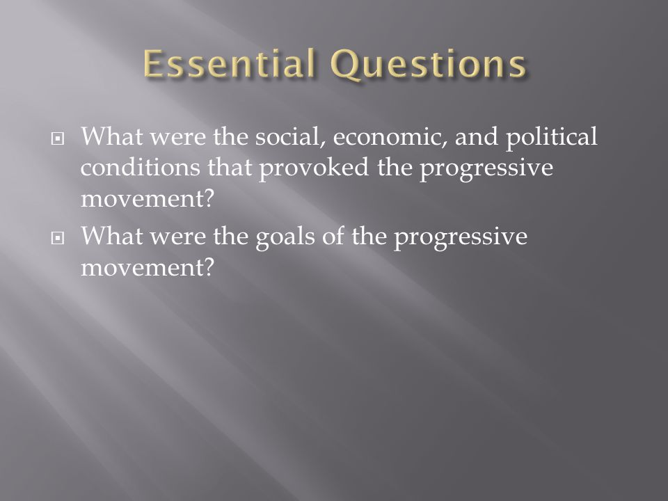  What were the social, economic, and political conditions that provoked the progressive movement.