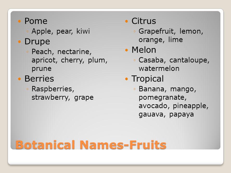 Botanical Names-Fruits Pome ◦Apple, pear, kiwi Drupe ◦Peach, nectarine, apricot, cherry, plum, prune Berries ◦Raspberries, strawberry, grape Citrus ◦Grapefruit, lemon, orange, lime Melon ◦Casaba, cantaloupe, watermelon Tropical ◦Banana, mango, pomegranate, avocado, pineapple, gauava, papaya