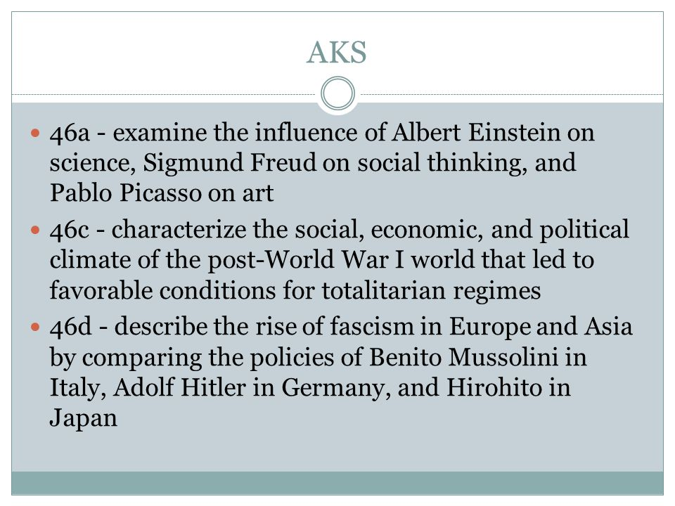 AKS 46a - examine the influence of Albert Einstein on science, Sigmund Freud on social thinking, and Pablo Picasso on art 46c - characterize the social, economic, and political climate of the post-World War I world that led to favorable conditions for totalitarian regimes 46d - describe the rise of fascism in Europe and Asia by comparing the policies of Benito Mussolini in Italy, Adolf Hitler in Germany, and Hirohito in Japan