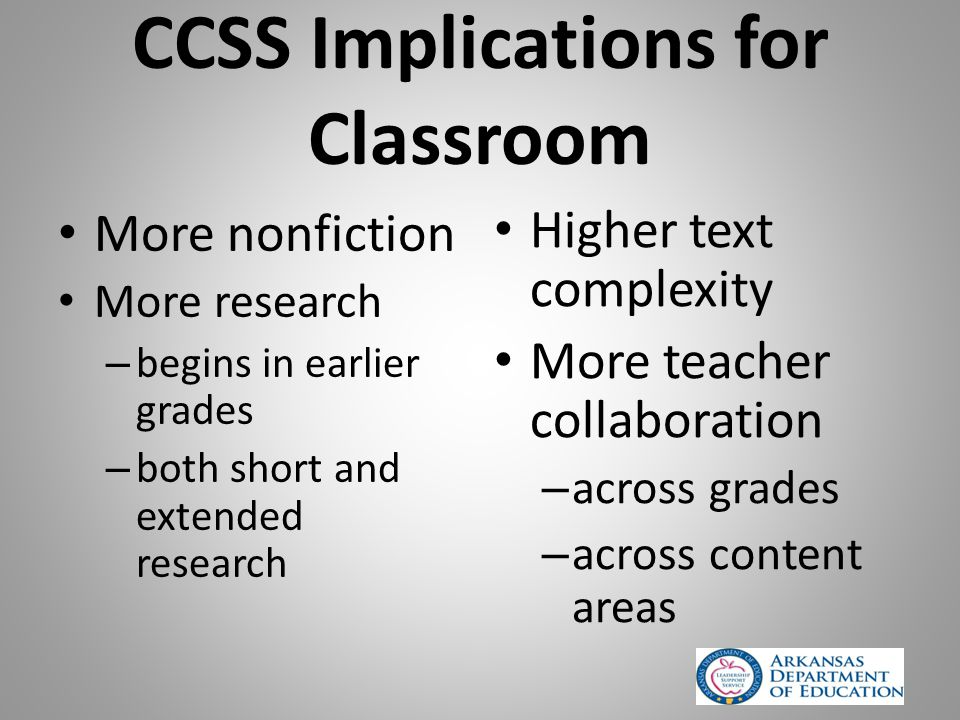 CCSS Implications for Classroom More nonfiction More research – begins in earlier grades – both short and extended research Higher text complexity More teacher collaboration – across grades – across content areas