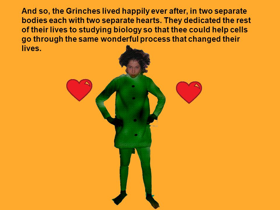 And so, the Grinches lived happily ever after, in two separate bodies each with two separate hearts.