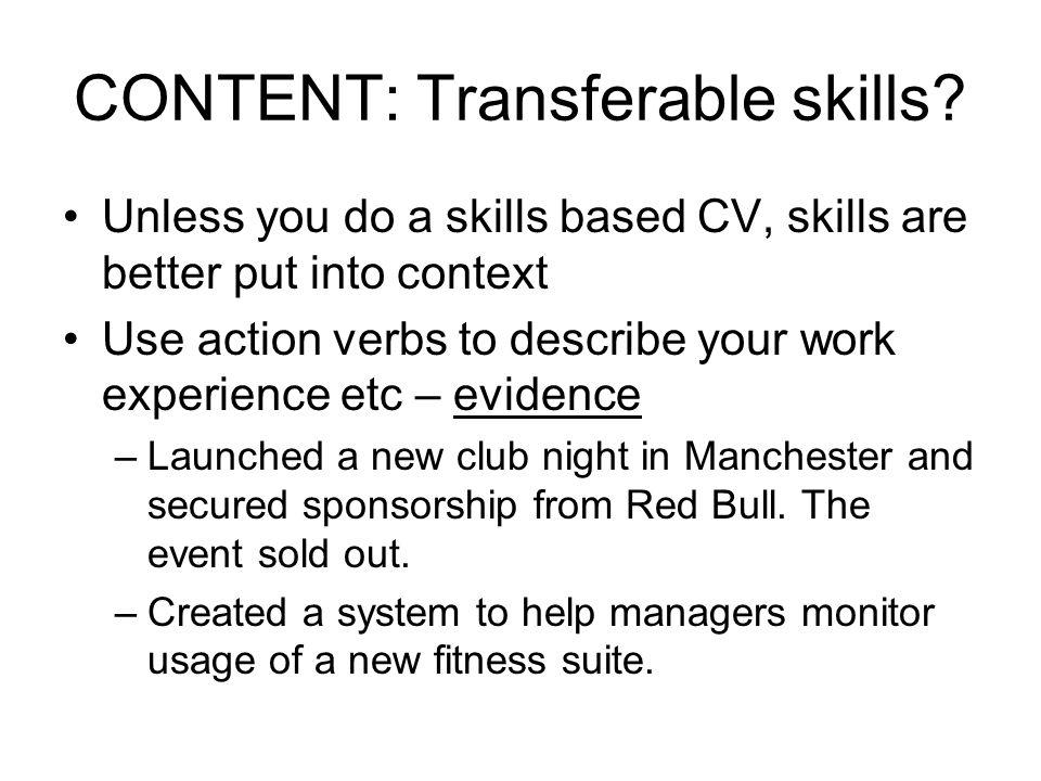 CONTENT: Transferable skills.