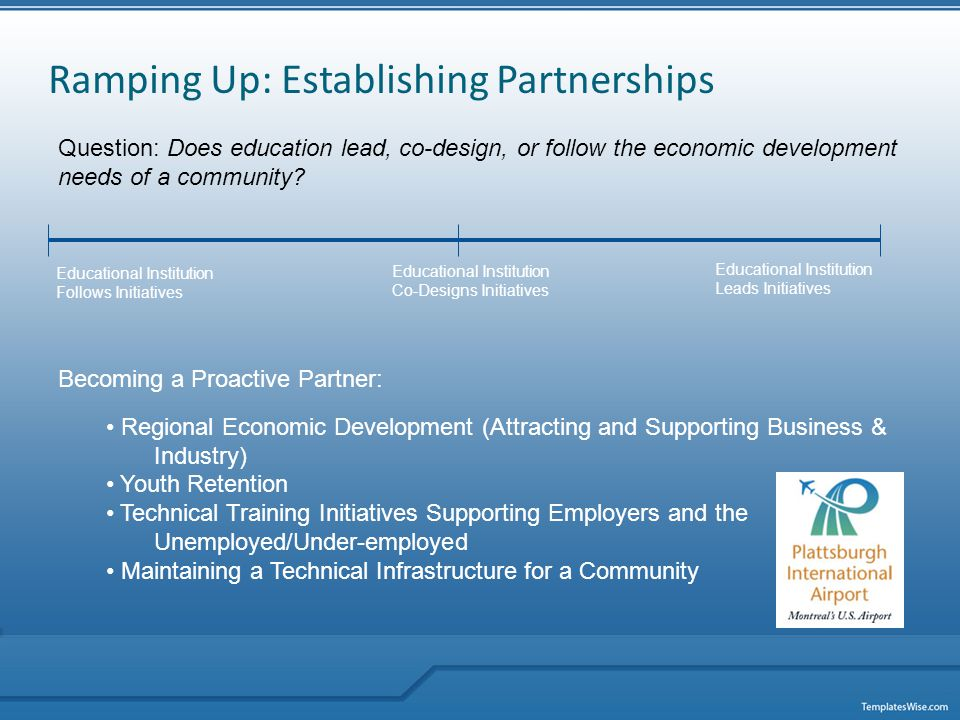 Ramping Up: Establishing Partnerships Question: Does education lead, co-design, or follow the economic development needs of a community.