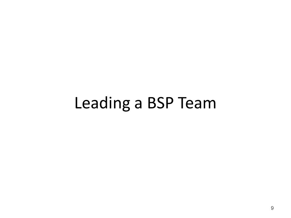 9 Leading a BSP Team