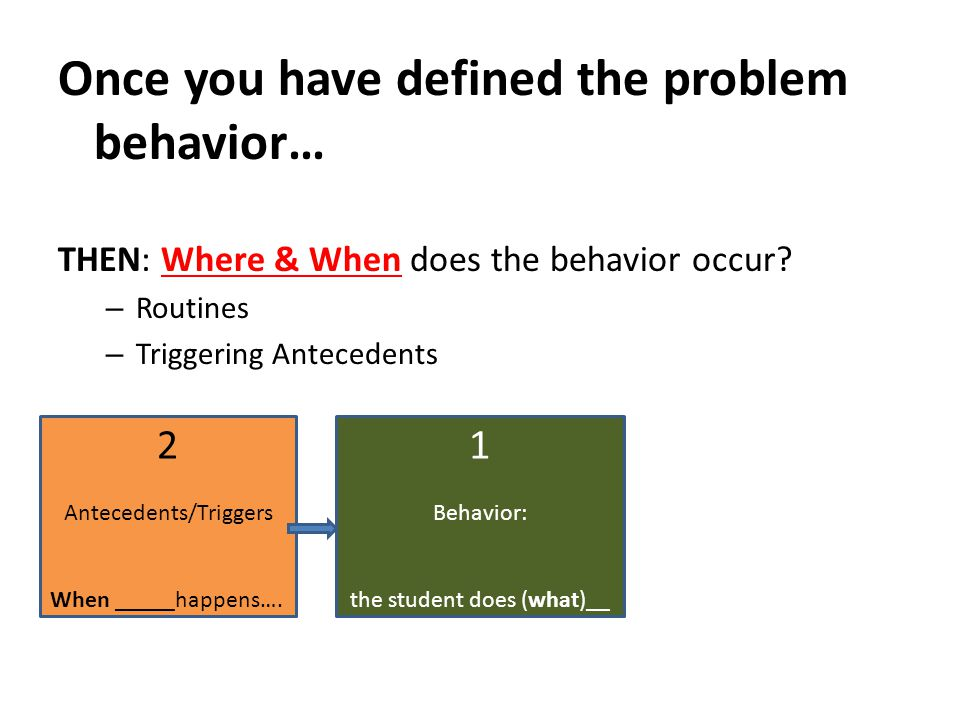 Once you have defined the problem behavior… THEN: Where & When does the behavior occur? – Routines – Triggering Antecedents 2 Antecedents/Triggers Whe