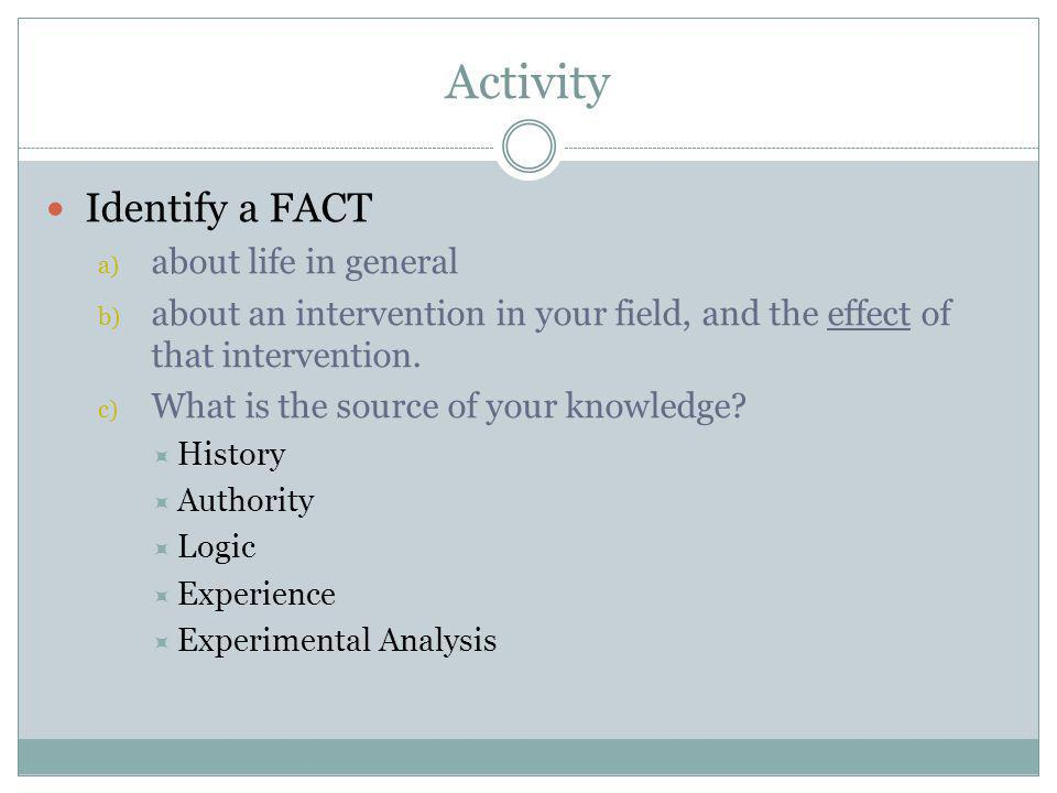 Activity Identify a FACT a) about life in general b) about an intervention in your field, and the effect of that intervention. c) What is the source o