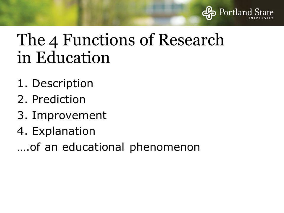 The 4 Functions of Research in Education 1. Description 2.