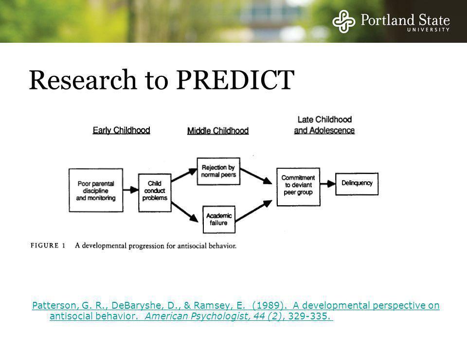 Research to PREDICT Patterson, G. R., DeBaryshe, D., & Ramsey, E.