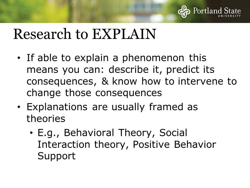 Research to EXPLAIN If able to explain a phenomenon this means you can: describe it, predict its consequences, & know how to intervene to change those consequences Explanations are usually framed as theories E.g., Behavioral Theory, Social Interaction theory, Positive Behavior Support