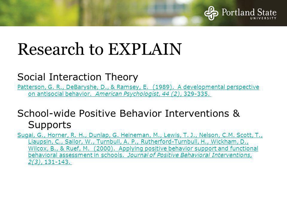Research to EXPLAIN Social Interaction Theory Patterson, G.