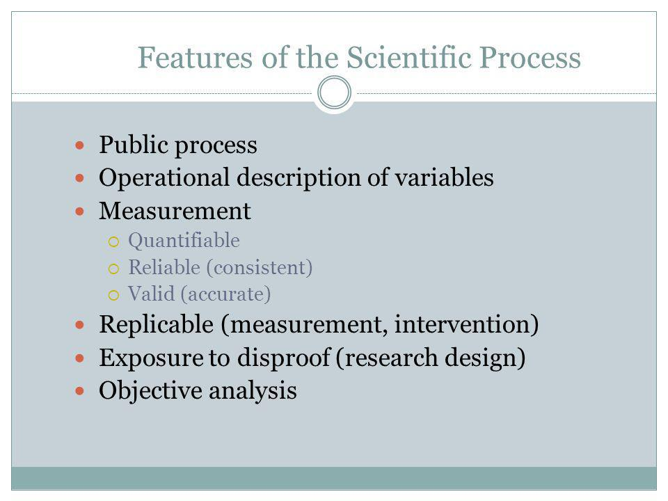 Features of the Scientific Process Public process Operational description of variables Measurement  Quantifiable  Reliable (consistent)  Valid (accurate) Replicable (measurement, intervention) Exposure to disproof (research design) Objective analysis