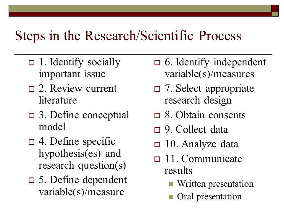 Steps in the Research/Scientific Process  1. Identify socially important issue  2.