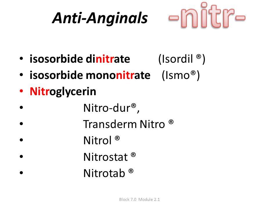 Anti-Anginals isosorbide dinitrate (Isordil ®) isosorbide mononitrate (Ismo®) Nitroglycerin Nitro-dur®, Transderm Nitro ® Nitrol ® Nitrostat ® Nitrota
