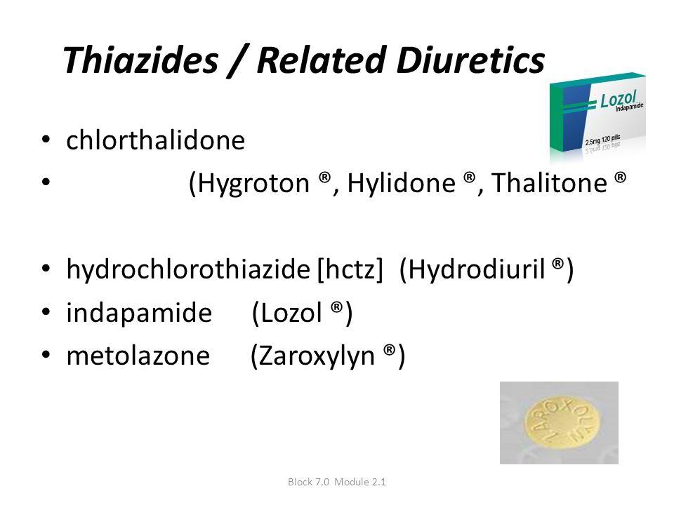 Thiazides / Related Diuretics chlorthalidone (Hygroton ®, Hylidone ®, Thalitone ® hydrochlorothiazide [hctz] (Hydrodiuril ®) indapamide (Lozol ®) meto