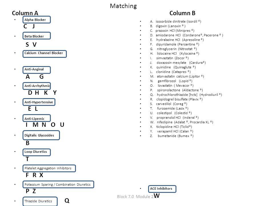 Matching Column A Alpha Blocker Beta Blocker Calcium Channel Blocker Anti-Anginal Anti-Arrhythmic Anti-Hypertensive Anti-Lipemic Digitalis Glycosides