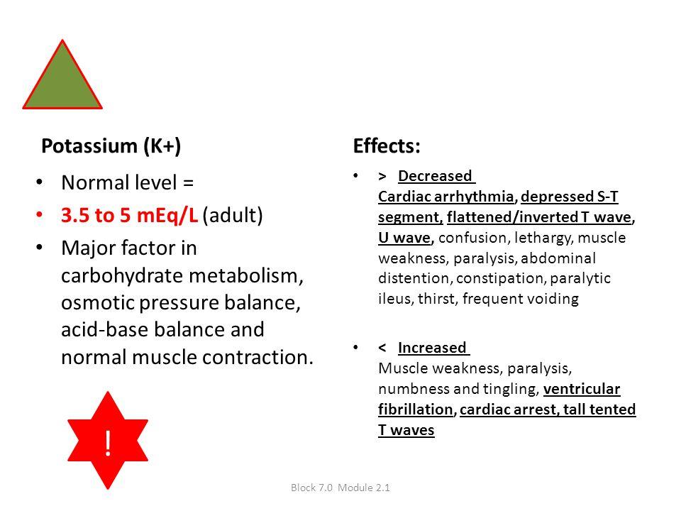 Potassium (K+) Normal level = 3.5 to 5 mEq/L (adult) Major factor in carbohydrate metabolism, osmotic pressure balance, acid-base balance and normal m