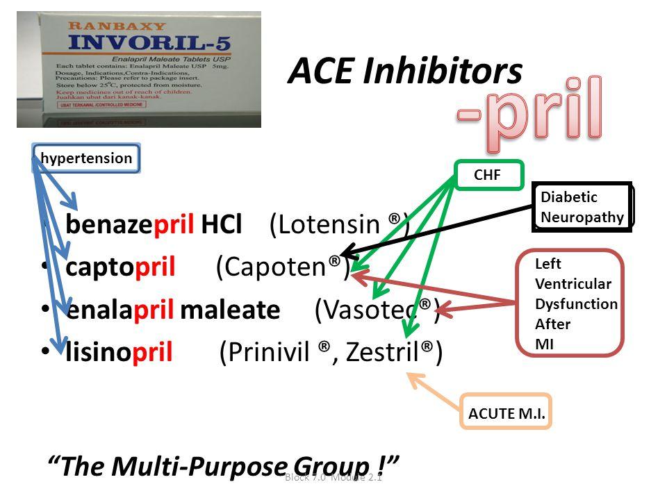 ACE Inhibitors benazepril HCl (Lotensin ®) captopril (Capoten®) enalapril maleate (Vasotec®) lisinopril (Prinivil ®, Zestril®) hypertension CHF Left V