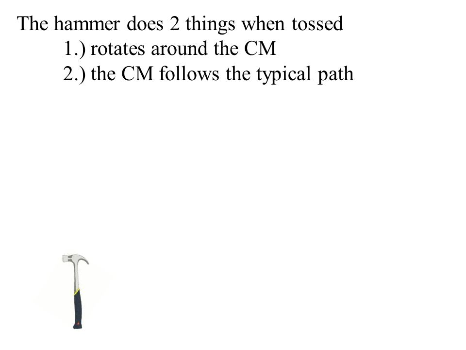 The hammer does 2 things when tossed 1.) rotates around the CM 2.) the CM follows the typical path
