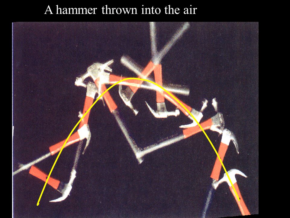 A hammer thrown into the air