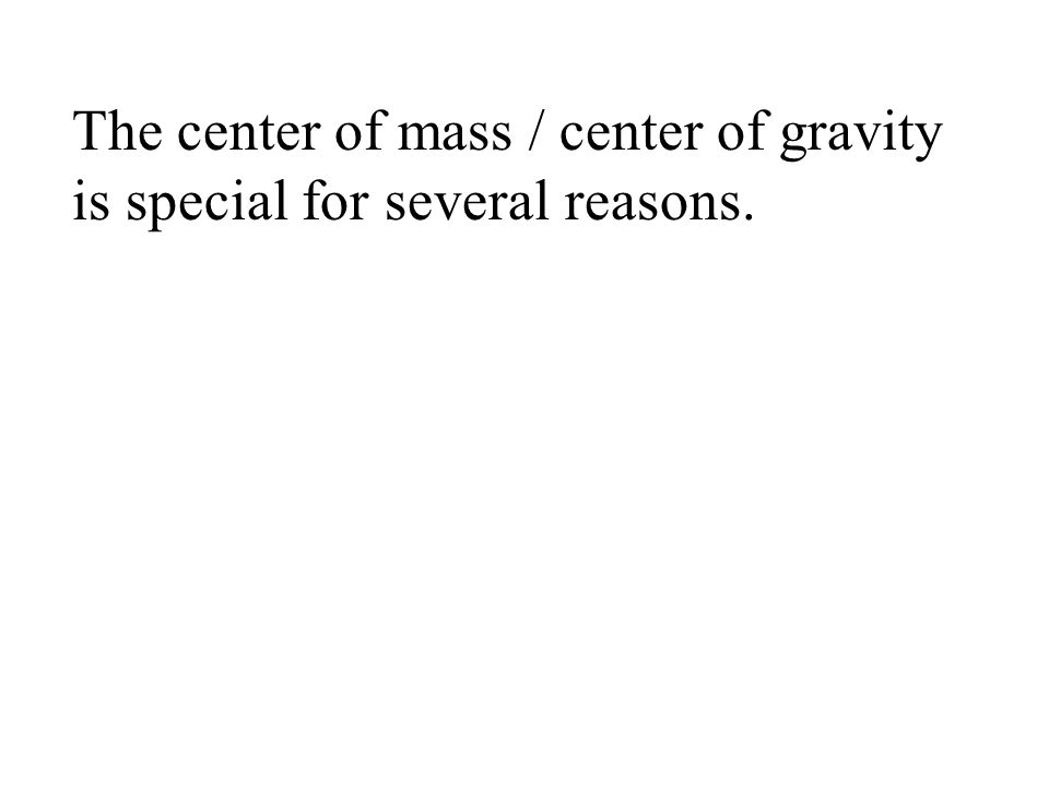 The center of mass / center of gravity is special for several reasons.