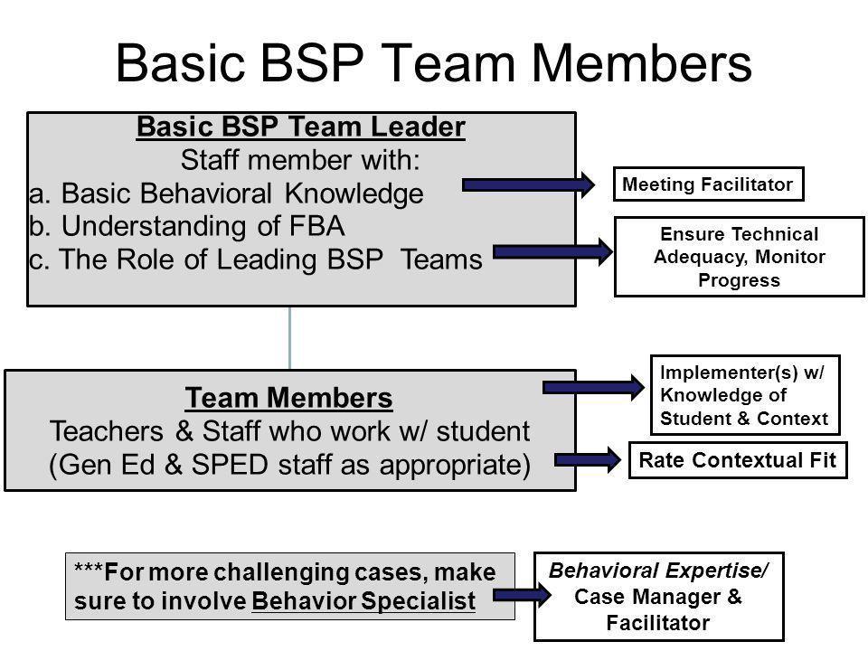 Basic BSP Team Members Basic BSP Team Leader Staff member with: a. Basic Behavioral Knowledge b. Understanding of FBA c. The Role of Leading BSP Teams