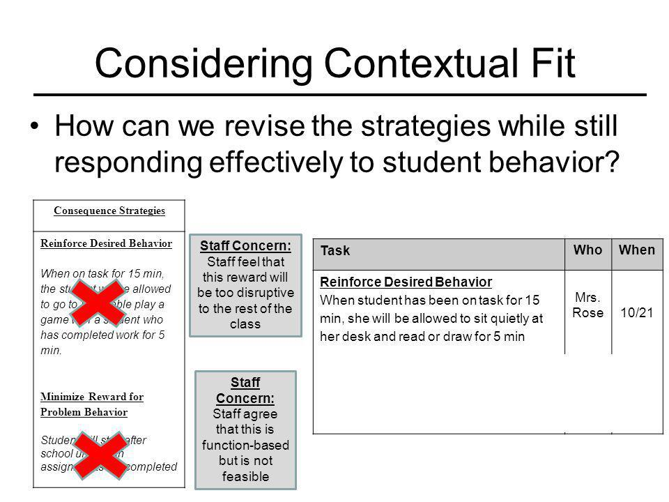 Considering Contextual Fit How can we revise the strategies while still responding effectively to student behavior? Consequence Strategies Reinforce D