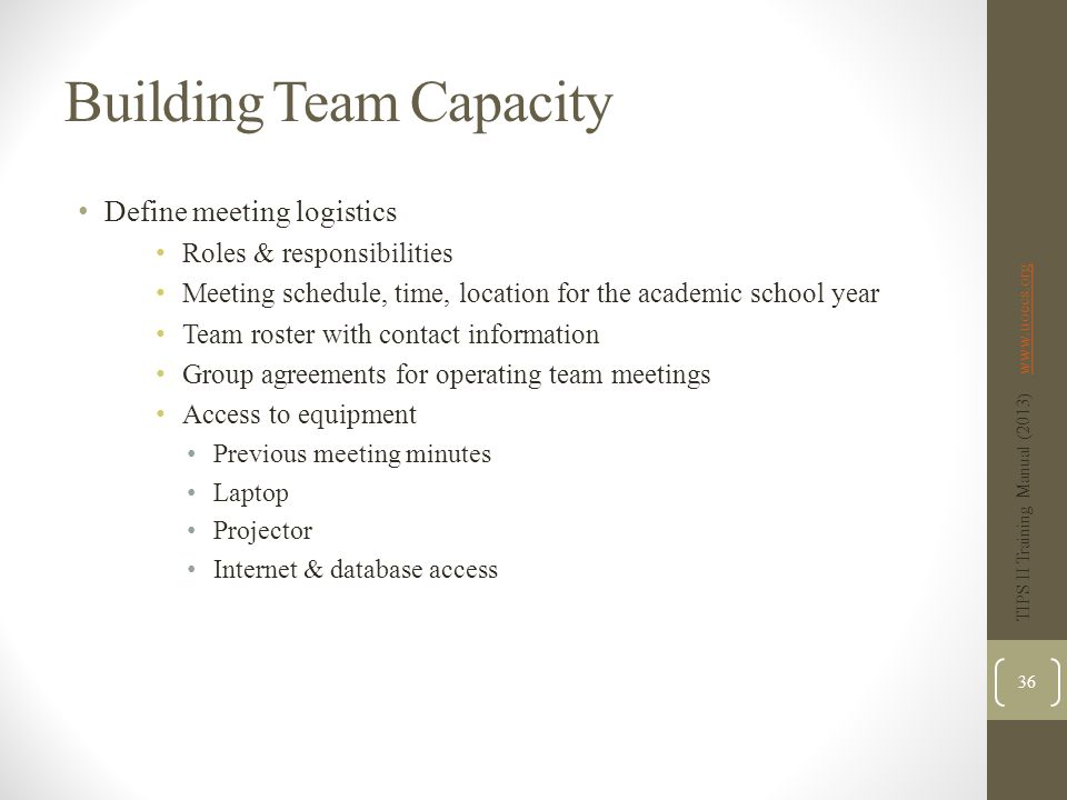 Building Team Capacity Define meeting logistics Roles & responsibilities Meeting schedule, time, location for the academic school year Team roster with contact information Group agreements for operating team meetings Access to equipment Previous meeting minutes Laptop Projector Internet & database access TIPS II Training Manual (2013) www.uoecs.orgwww.uoecs.org 36