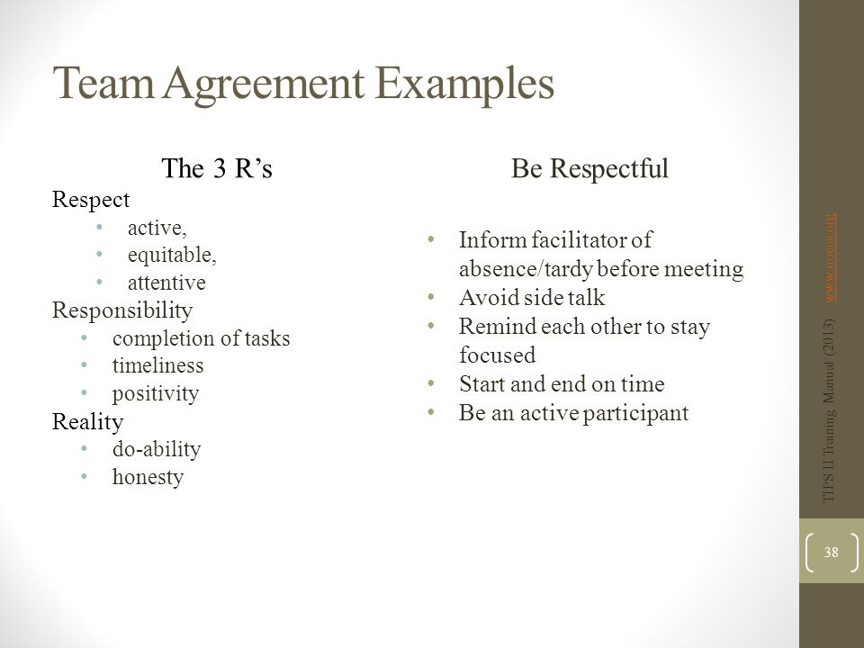 Team Agreement Examples The 3 R's Respect active, equitable, attentive Responsibility completion of tasks timeliness positivity Reality do-ability honesty Be Respectful Inform facilitator of absence/tardy before meeting Avoid side talk Remind each other to stay focused Start and end on time Be an active participant TIPS II Training Manual (2013) www.uoecs.orgwww.uoecs.org 38