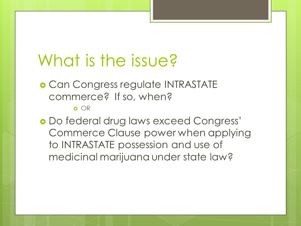 What is the issue.  Can Congress regulate INTRASTATE commerce.