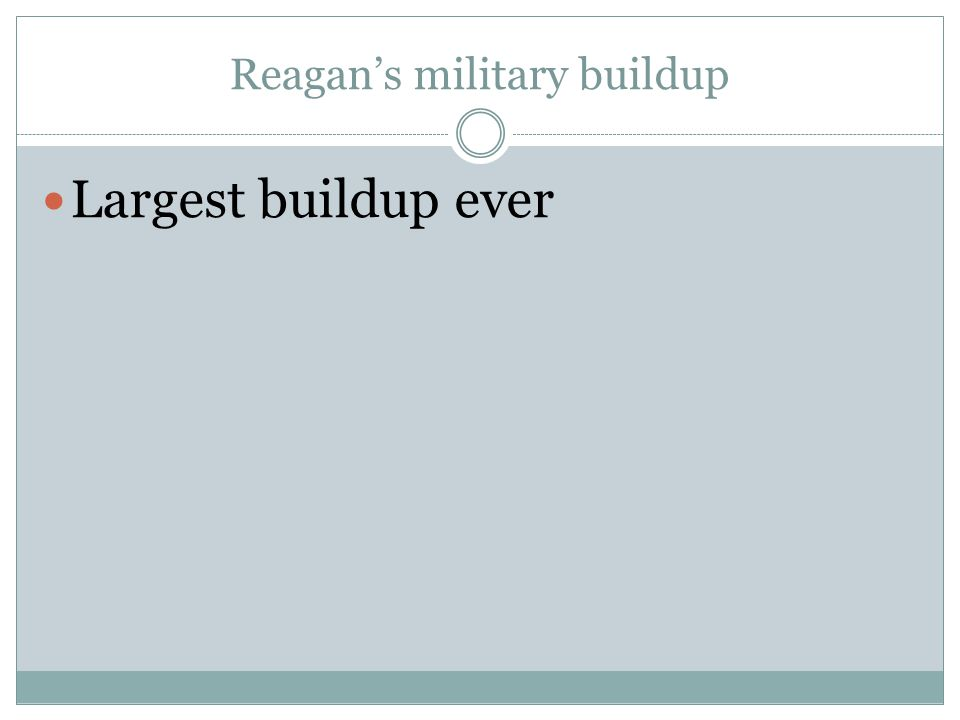 Reagan's military buildup Largest buildup ever
