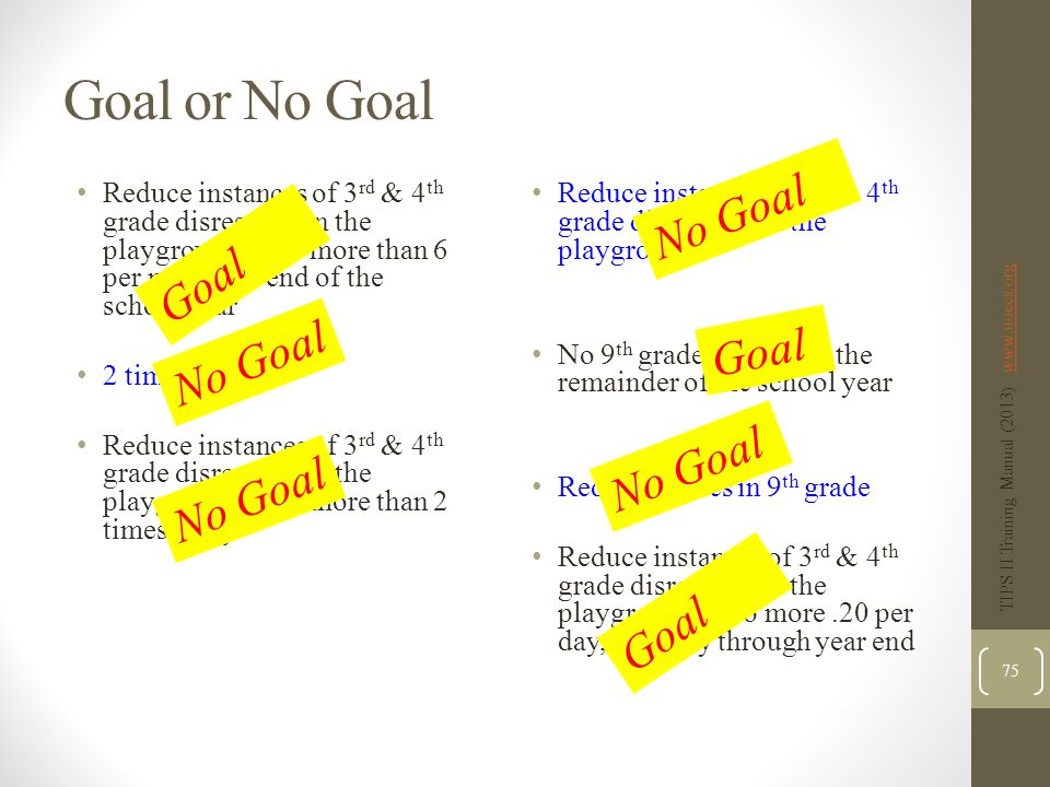 Goal or No Goal Reduce instances of 3 rd & 4 th grade disrespect on the playground to no more than 6 per month by end of the school year 2 times a day Reduce instances of 3 rd & 4 th grade disrespect on the playground to no more than 2 times a day Reduce instances of 3 rd & 4 th grade disrespect on the playground No 9 th grade tardies for the remainder of the school year Reduce tardies in 9 th grade Reduce instances of 3 rd & 4 th grade disrespect on the playground to no more.20 per day, monthly through year end TIPS II Training Manual (2013) www.uoecs.orgwww.uoecs.org 75 Goal No Goal