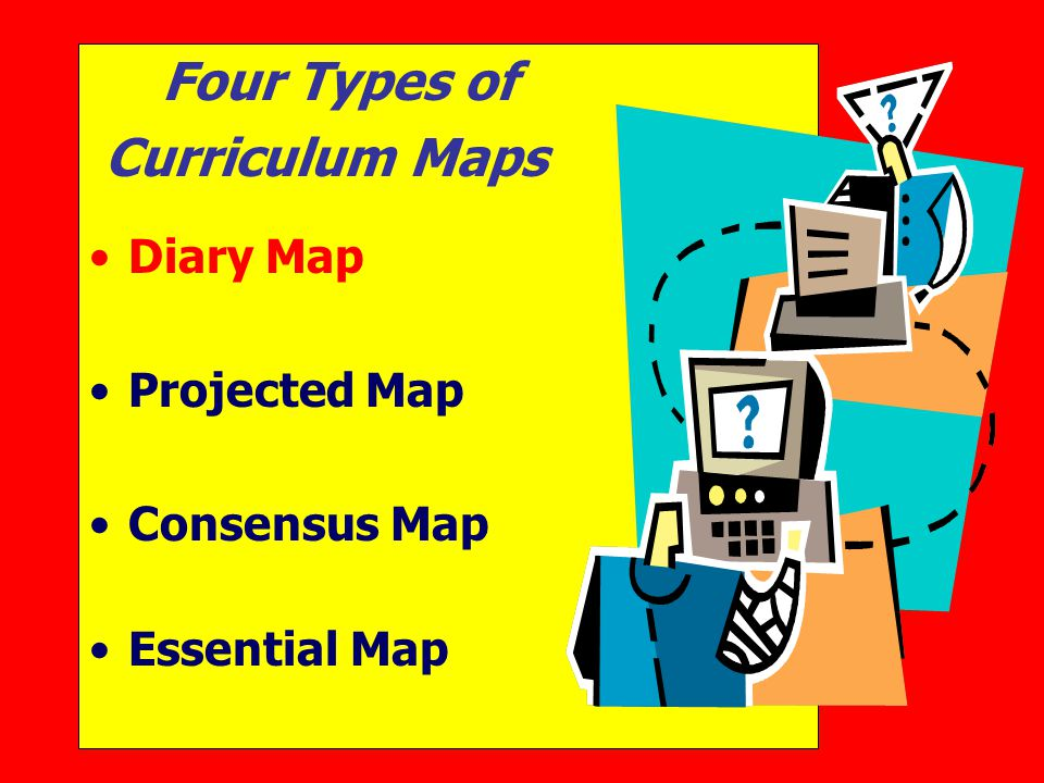 Four Types of Curriculum Maps Diary Map Projected Map Consensus Map Essential Map