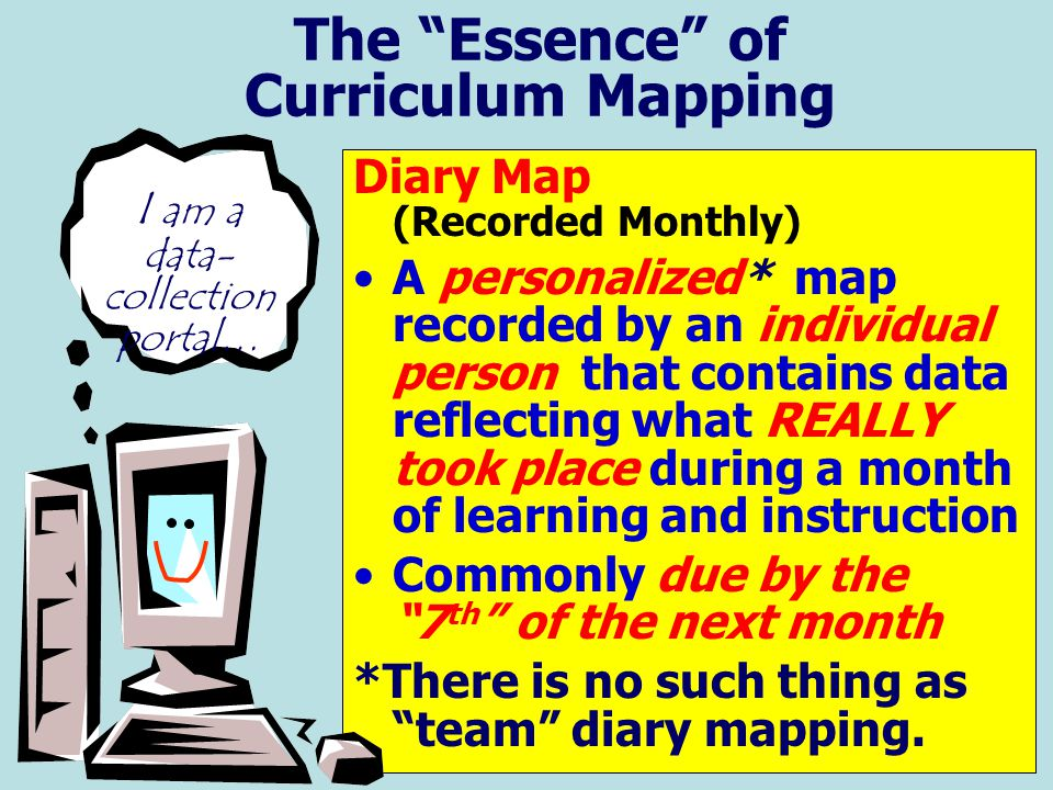"The ""Essence"" of Curriculum Mapping Diary Map (Recorded Monthly) A personalized* map recorded by an individual person that contains data reflecting wh"
