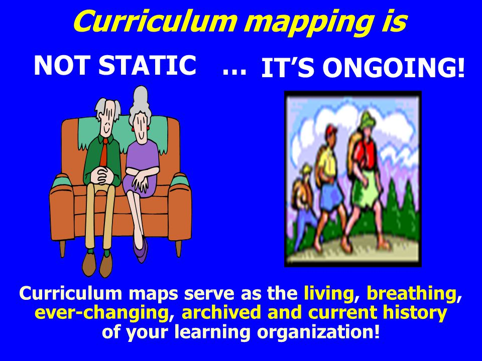 Curriculum mapping is NOT STATIC … Curriculum maps serve as the living, breathing, ever-changing, archived and current history of your learning organi