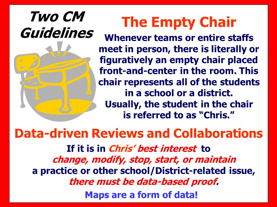 Two CM Guidelines Data-driven Reviews and Collaborations If it is in Chris' best interest to change, modify, stop, start, or maintain a practice or ot