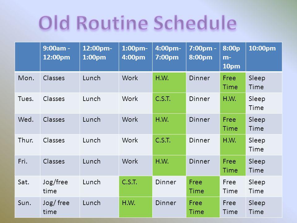 9:00am - 12:00pm 12:00pm- 1:00pm 1:00pm- 4:00pm 4:00pm- 7:00pm 7:00pm - 8:00pm 8:00p m- 10pm 10:00pm Mon.ClassesLunchWorkH.W.DinnerFree Time Sleep Tim