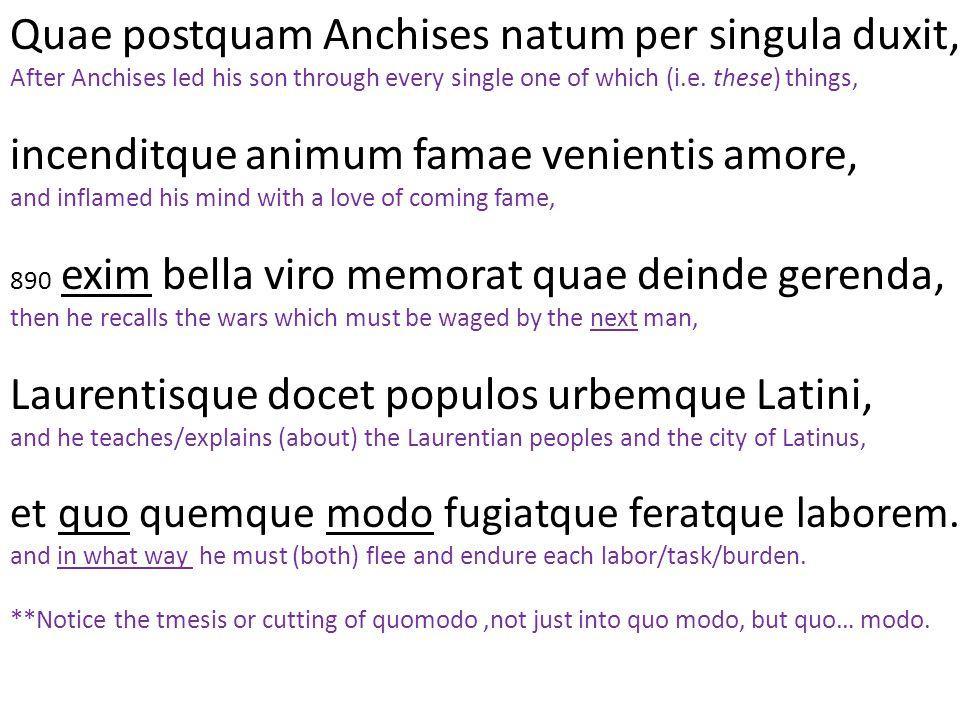 Quae postquam Anchises natum per singula duxit, After Anchises led his son through every single one of which (i.e. these) things, incenditque animum f