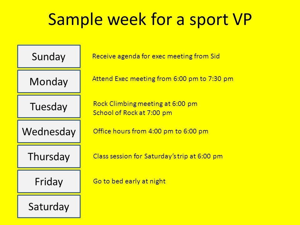 Sample week for a sport VP Sunday Monday Tuesday Wednesday Thursday Friday Saturday Receive agenda for exec meeting from Sid Attend Exec meeting from 6:00 pm to 7:30 pm Rock Climbing meeting at 6:00 pm School of Rock at 7:00 pm Office hours from 4:00 pm to 6:00 pm Class session for Saturday's trip at 6:00 pm Go to bed early at night