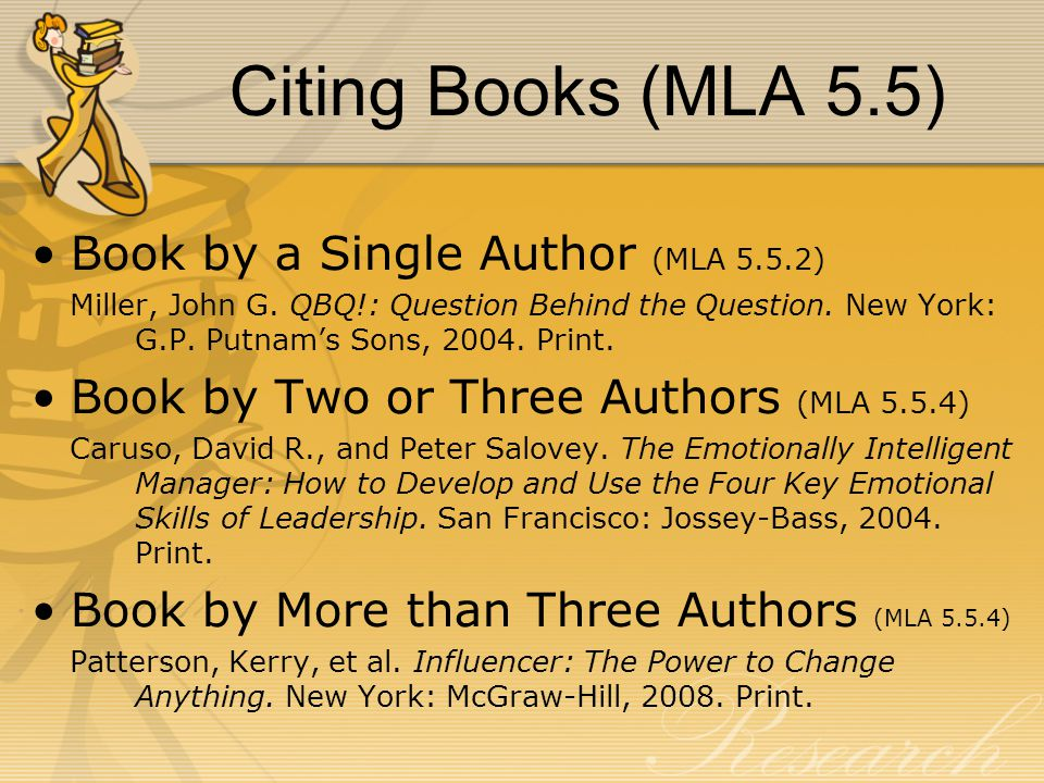 Citing Books (MLA 5.5) Book by a Single Author (MLA 5.5.2) Miller, John G.